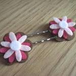 Pink and Brown Felt Flowers..