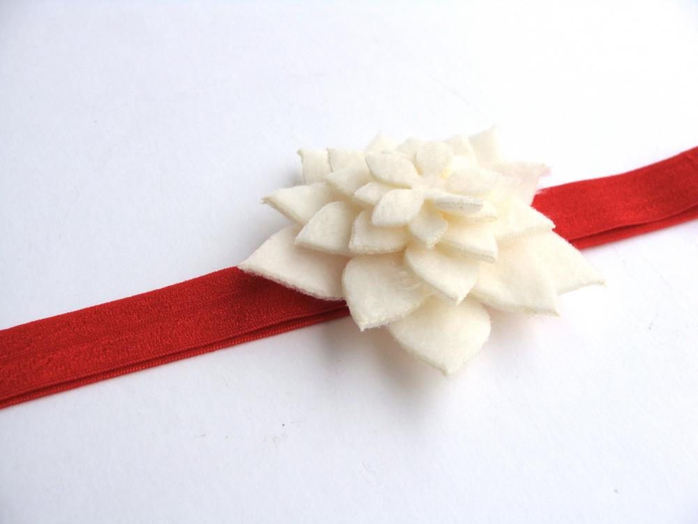 Big girl elastic headband with large felt flower