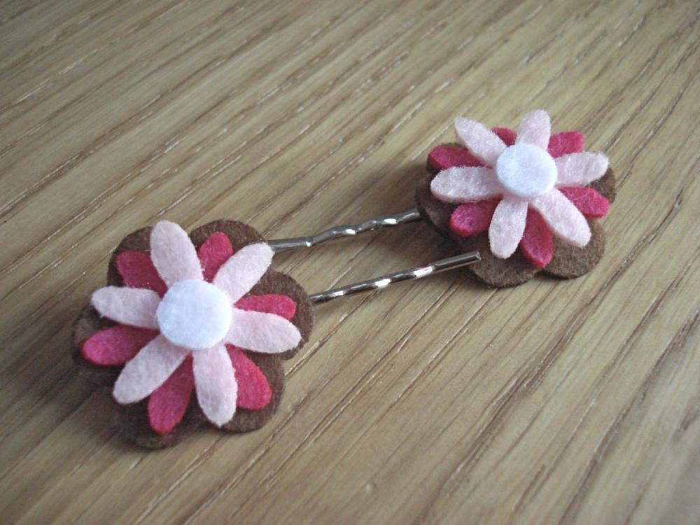 Pink and Brown Felt Flowers Bobby Pins (Set of 2)